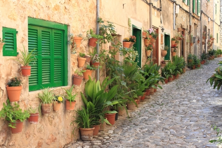Old houses with flowers in the mediterranean village of Valldemossa, Mallorca Stock Photo