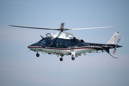 ROME - JUNE 3: An Agusta A109 Nexus helicopter performs at the Rome International Air Show on June 3, 2012 in Rome, Italy