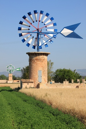 Typical windmill in Mallorca island, Spain