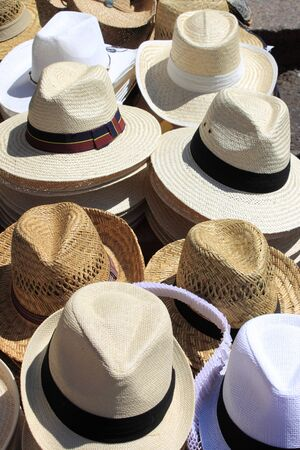 Panama hats for sale in a market stall