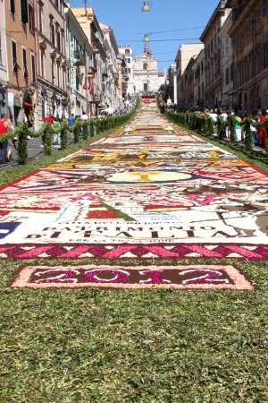 GENZANO, ITALY - JUNE 17: Floral Carpet in the Main Street on June 17, 2012 in Genzano, Italy. This event takes place every year and almost 350.000 flower petals were used this year.