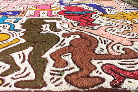 GENZANO, ITALY - JUNE 17: Floral Carpet in honor of Keith Haring on June 17, 2012 in Genzano, Italy. This event takes place every year and every sector honors a specific artist or subject.