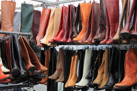 Women boots for sale in a shoe shop Stock Photo - 14296475