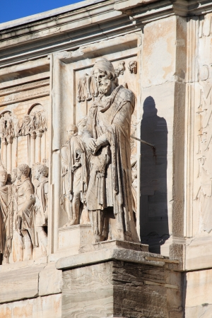 Details of Arch of Constantine in Rome, Italy photo