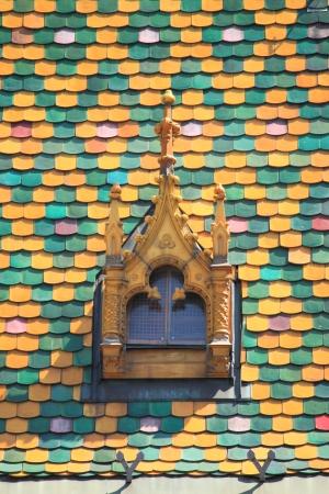 main market: Multicoloured roof in the Main Market Hall of Budapest, Hungary Stock Photo