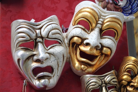 Two typical venetian carnival masks photo
