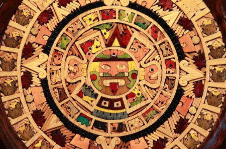 Close up view of a Aztec Calendar photo