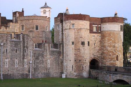 Main entrance of the stone fortress of the Tower of London, UK
