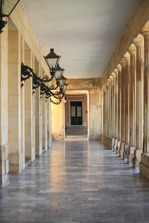 Colonnade in Corfu Island, Greece