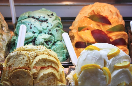 ice cream stand: Different flavors in a ice cream parlor Stock Photo