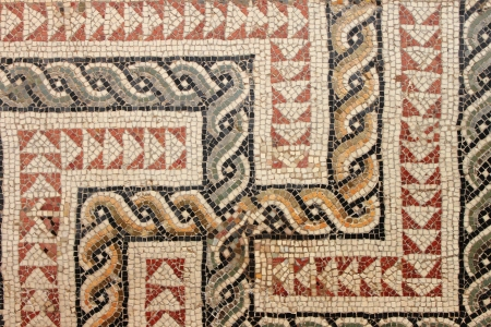 Closeup view of an ancient roman mosaic