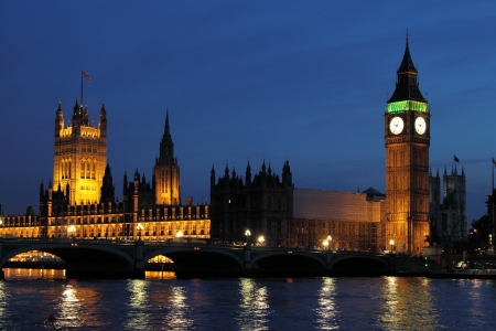 London night skyline with Houses of Parliament and Big Ben photo