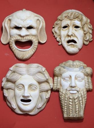 Starożytna Grecja maski teatralne w kamieniu z marmuru Zdjęcie Seryjne - 14964017