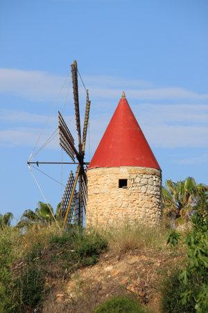 Traditional spanish windmill in Mallorca, Spain