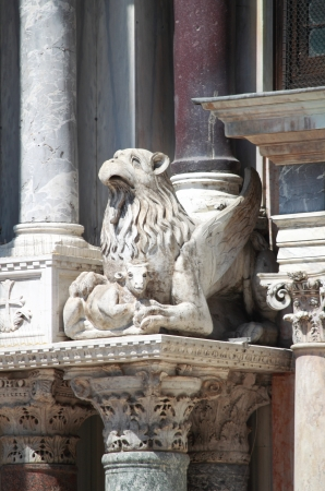 saint mark's: Baroque statue on St. Mark Cathedral in Venice, Italy Stock Photo