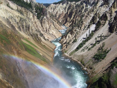 Stunning landscape view from Yellowstone falls photo