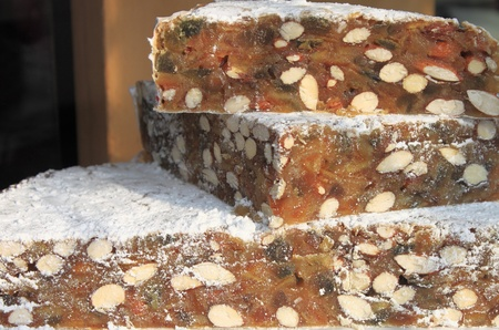 Wedges of Panforte, the traditional cake of Siena, Italy