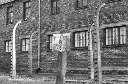 Warning sign at Auschwitz concentration camp, Poland Stock Photo - 15130833