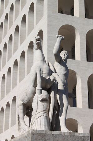 Equestrian statue at Squared Colosseum in Rome, Italy photo
