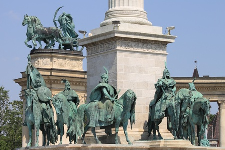 Equestrian statues of the Hungarian Chieftains in Heroes Square of Budapest photo