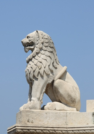 bastion: Lion statue at Budapest Fisherman Bastion, Hungary Stock Photo