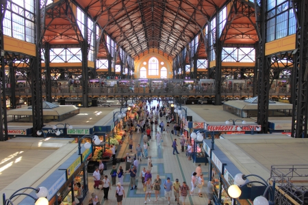 BUDAPEST - JULY 02 : People visit and go shopping in the Great Market Hall on July 02, 2012 in Budapest, Hungary. Great Market Hall is the largest indoor market in Budapest, it was built 1896 Stock Photo - 15438892