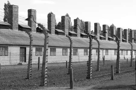 extermination: Barracks at Auschwitz concentration camp, Poland