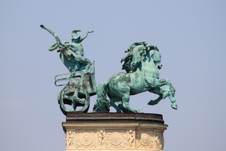allegorical: Allegorical statue of War in Heroes Square of Budapest, Hungary Stock Photo