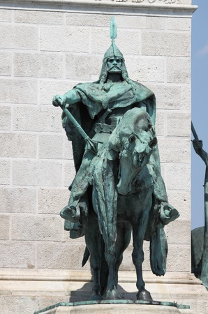 King Arpad on the millenium memorial in Budapest, Hungary
