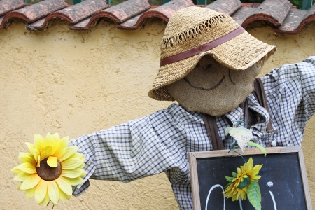 A funny and smiling scarecrow at the entrance of a field photo