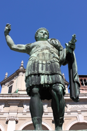 despotism: Statue of emperor Constantine in front St. Lawrence Cathedral in Milan