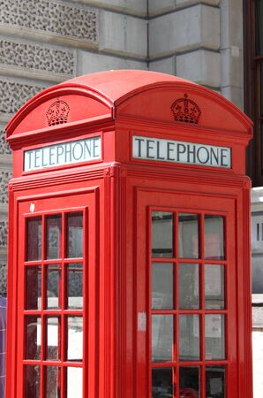 Detail of the typical London red telephone booth photo