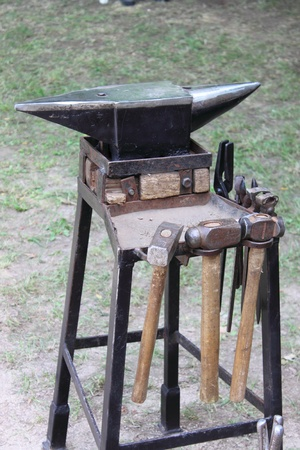 Anvil and sledgehammers, the tools of a forger photo