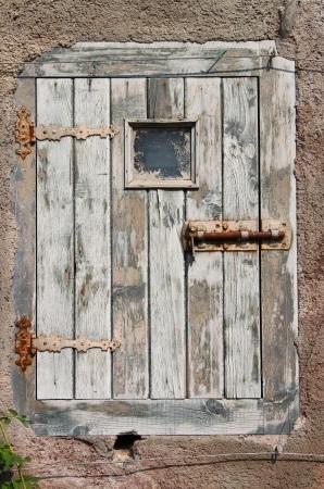 Ancient wood front door of a castle photo