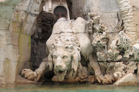 Statue of a mythologic monster in Navona Square, Rome Italy Stock Photo - 15730457