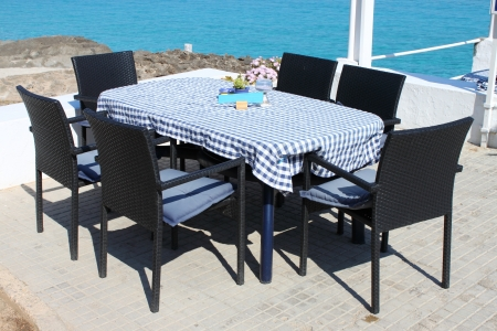 Palma de Mallorca, Spain - May 25, 2012: Typical mediterranean restaurant table on seaside