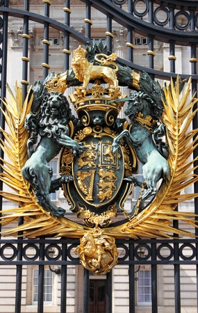 London, UK - May 21, 2010: Emblem in the front gate of Buckingham Palace in London, UK