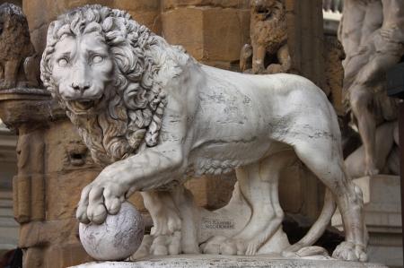 signoria square: Statue of a lion at Signoria square in Florence, Italy Stock Photo