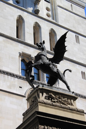 Heraldic dragon in Fleet Street in London, UK photo