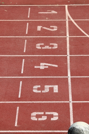 Start and Finish point of a race track in a stadium photo