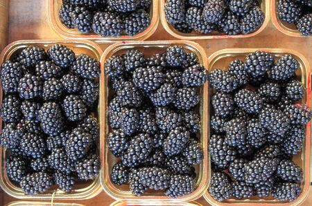 greengrocery: Fresh ripe blackberries for sale in a greengrocery