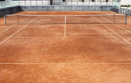 Empty clay tennis court