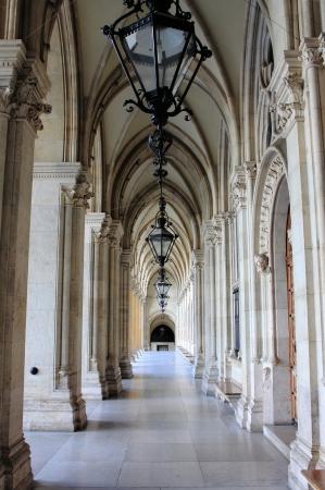 Colonnade in Vienna City Hall building  Austria