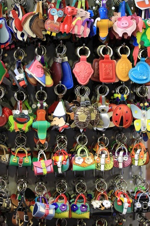 keychains: Colorful keychains for sale Stock Photo