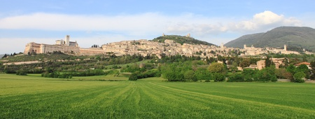 Panorama of Assisi  Italy  with Saint Francis Cathedral  photo