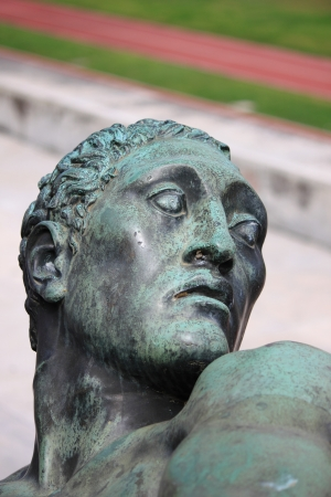Bronze head of a virile statue in the Stadium of the Marbles in Rome, Italy Stock Photo - 15995227