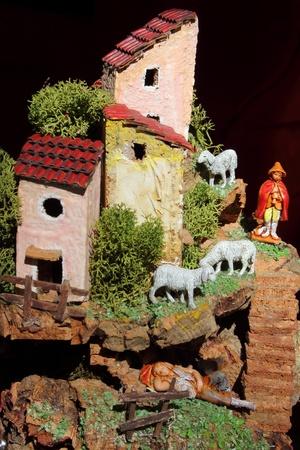 creche: Miniatura de un pesebre napolitano art�stica y tradicional