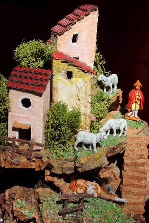 creche: Miniature of a artistic and traditional neapolitan crib Stock Photo