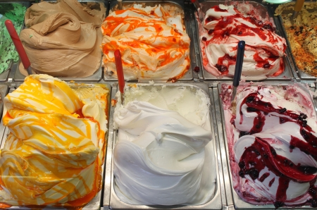 Different flavors of italian ice cream