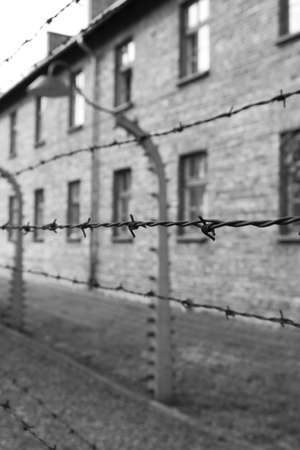 Oswiecim, Poland - July 23, 2011: Barbed wire electrical fence at Auschwitz Birkenau Concentration Camp Stock Photo - 16224981